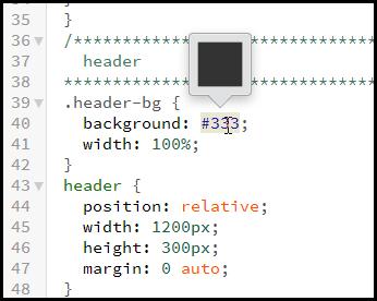 Bracketsで色のコードをカラーパレットで選択する方法 (2)