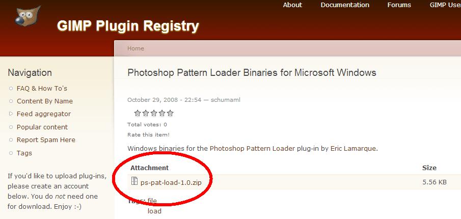 GIMP2.6でPhotoshopのパターン(.pat)を画像として開き利用する