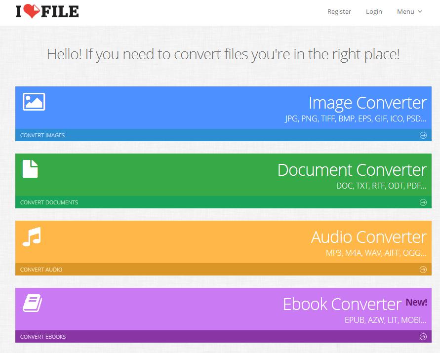 画像、音声、ドキュメント、EBOOKのファイルをあらゆるタイプに変換(全56種)するウェブサービス 「I LOVE FILE 」 を使ってみた