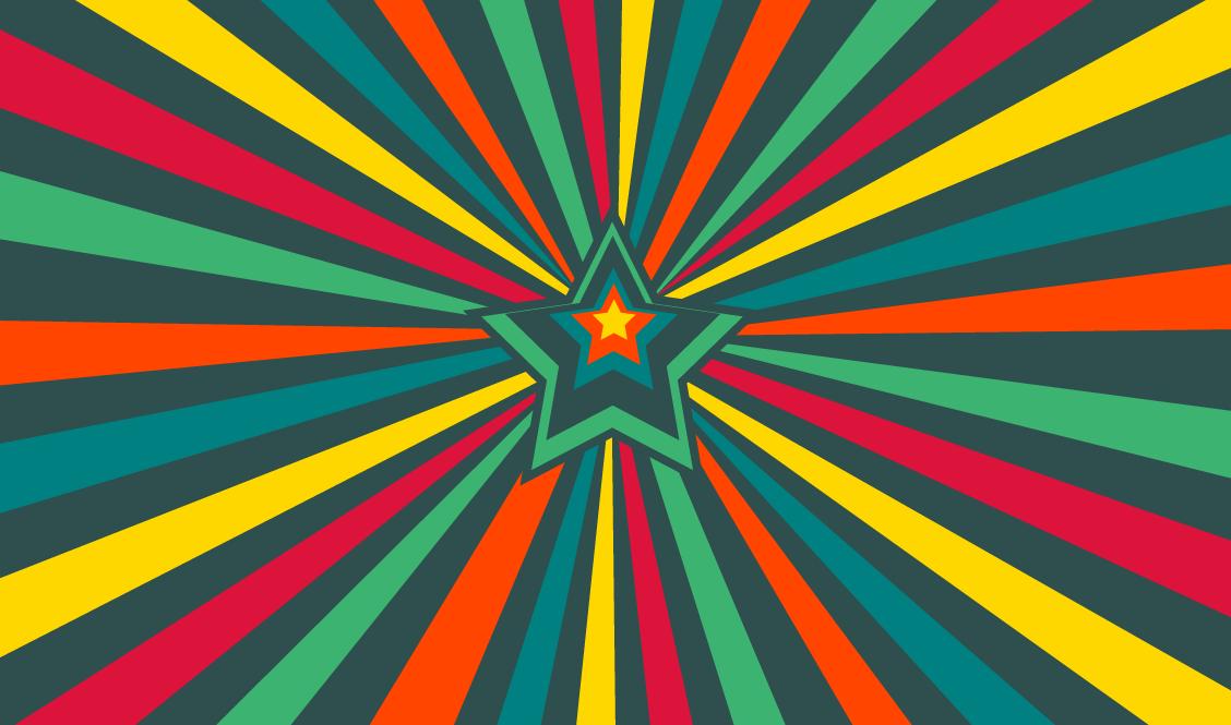 テーレッテレーと効果音を付けたくなる、カラフルな集中線が回転するアニメーション 『Colored rays on SVG』
