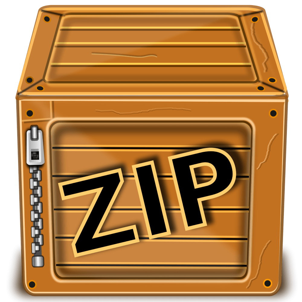 ZIPファイルジッパーと箱で表した イラスト・クリップアート